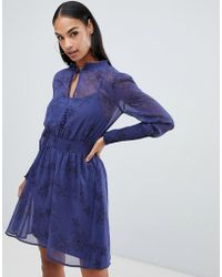 Boohoo - Chiffon Tie Neck Dress In Blue Floral - Lyst