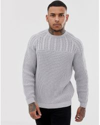 ASOS - Yoke Cable Knit Jumper In Light Grey - Lyst