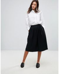 YMC - Wool Blend Pleated Midi Skirt - Lyst