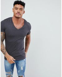 ASOS - Muscle Fit T-shirt With Deep V Neck In Grey - Lyst