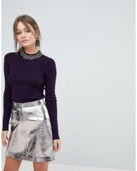 Oasis - Embellished Neck Jumper - Lyst