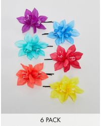 ASOS - Design Pack Of 6 Tropical Summer Floral Hair Clips - Lyst