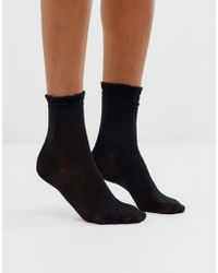 Monki Glitter Ankle Socks In Black