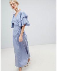 Vero Moda - Flutter Sleeve Wrap Maxi Dress - Lyst
