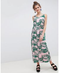 Blend She - Adali Palmleaf Print Slip Dress - Lyst