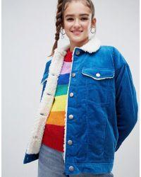 Monki - Shearling Collar Cord Jacket In Blue - Lyst