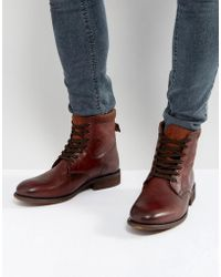 ALDO | Derrian Leather Lace Up Boots In Brown | Lyst