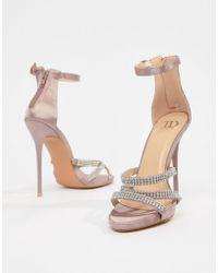 True Decadence - Blush Satin Embellished Strappy Sandals - Lyst