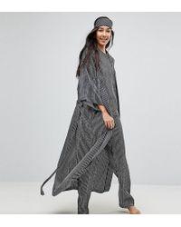ASOS - Mono Stripe Printed Robe & Eyemask - Lyst