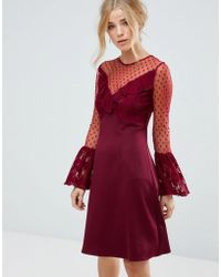 Elise Ryan - A Line Mini Dress With Lace Frill & Fluted Long Sleeve - Lyst