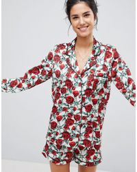 Missguided - Valentines Satin Rose Print Pj Set - Lyst
