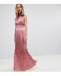 Little Mistress - Ruffle High Neck Maxi Dress With Lace Pleated Skirt - Lyst