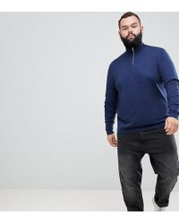 ASOS - Plus Knitted Half Zip Jumper In Navy - Lyst