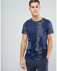 Stradivarius - T-shirt With Paisley Print In Navy - Lyst