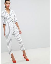 River Island - Stripe Double Breasted Jumpsuit - Lyst