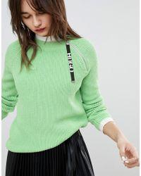 HUGO - Lime Knit With Logo Tab - Lyst