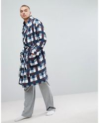 ASOS - Shawl Neck Fleece Checked Dressing Gown - Lyst