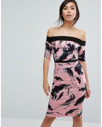 Vesper - Bardot Swirl Print Pencil Dress - Lyst