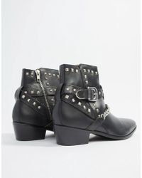 House Of Hounds - Jasper Studded Cuban Boots In Black Leather - Lyst