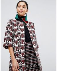 Traffic People - Printed Jacquard Shift Jacket - Lyst