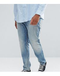 ASOS - Plus Stretch Slim Jeans In Mid Wash Vintage With Abrasions - Lyst