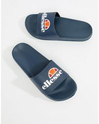 Ellesse - Sliders With Large Logo In Navy - Lyst