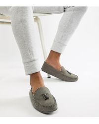 ASOS - Slippers In Grey With Faux Shearling Lining - Lyst