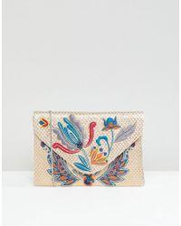 Park Lane - Embroidered Clutch Bag With Optional Shoulder Strap - Lyst