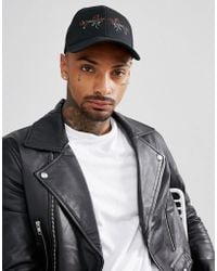 ASOS - Trucker Cap In Black With Rose Embroidery - Lyst