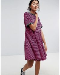 Lazy Oaf - Smock Dress In Stripe With Bad For You Taping - Lyst