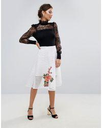 Amy Lynn - Amy Lynn A Line Midi Skirt With Floral Placement - Lyst