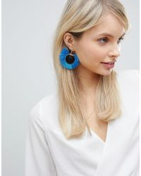South Beach - Bright Blue Tassel Disc Earrings (+) - Lyst
