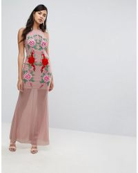 Naanaa - Fishtail Maxi Dress With Lace Applique - Lyst