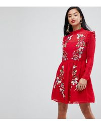 ASOS - Pretty Embroidered Mini Dress On Dobby - Lyst