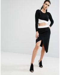 Kendall + Kylie - Kendall + Kylie Asymetric Overlap Skirt - Lyst