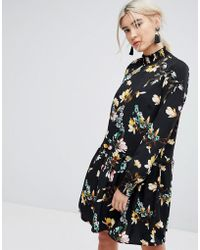 Vila - Floral Printed High Neck Shift Dress - Lyst