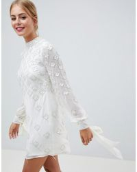 ASOS - Blouson Mini Dress With Iridescent Embellishment - Lyst