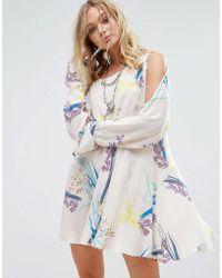 Free People - Clear Skies Cold Shoulder Printed Dress - Lyst