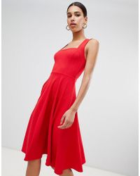 Boohoo - Square Neck Midi Skater Dress - Lyst