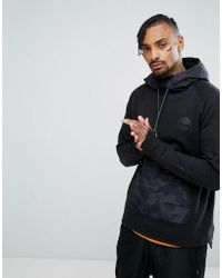 Timberland - Oversized Hoodie Nylon Hood & Front Pocket In Black - Lyst