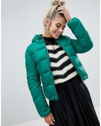 Bershka - Light Weight Hooded Padded Jacket In Green - Lyst