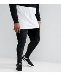 Sixth June   Plus Skinny Joggers In Black Velour With Zip Ankle   Lyst