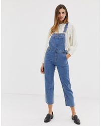 Urban Bliss - Straight Leg Dungaree With Raw Hem - Lyst