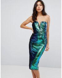 TFNC London - Bandeau Fish Scale Sequin Midi Dress - Lyst