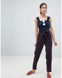 Pieces - Sanika Tie Waist Trousers - Lyst