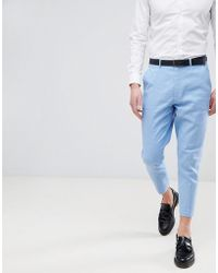 ASOS - Design Wedding Tapered Smart Trousers In Blue Linen - Lyst