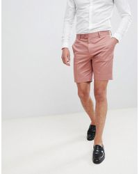ASOS - Design Slim Mid Length Smart Shorts In Dusky Pink Cotton Sateen - Lyst