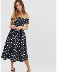 46420680f7d ASOS Scuba Bow One Shoulder Prom Dress In Bright Floral Print - Lyst