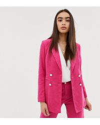 UNIQUE21 Double Breasted Blazer In Cord Two-piece - Pink