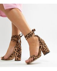 1114bf7c4d72 ASOS - Wide Fit Howling Tie Leg Block Heeled Sandals In Leopard Print - Lyst
